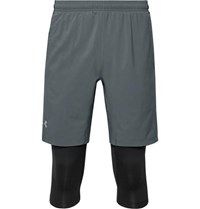 Under Armour Launch Slim Fit Sw 2 In 1 Running Shorts Gray
