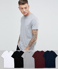 Asos 5 Pack T Shirt With Crew Neck Save Wh Bk Ox Ny Gy Multi