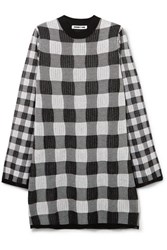 Mcq By Alexander Mcqueen Checked Knitted Mini Dress Gray