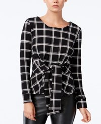 Bar Iii Printed Tie Front Top Only At Macy's Black Combo