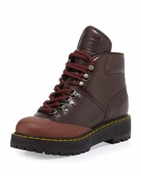 Prada Linea Rossa Lace Up Leather Hiking Boot Ebano Cotton Brown
