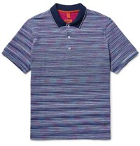 Missoni Striped Knitted Cotton Polo Shirt Violet