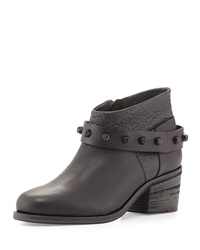Studded Chunky Heel Ankle Boot Black Nero Henry Beguelin