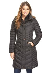 Women's Marc New York 'Karla' Faux Fur Trim Long Down And Feather Fill Coat