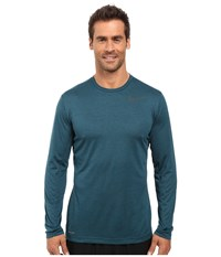 Nike Dri Fit Training Long Sleeve Shirt Seaweed Midnight Turquoise Black Men's Clothing Blue