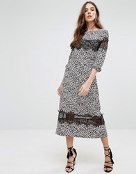 Millie Mackintosh Leopard Print Midi Dress Blue