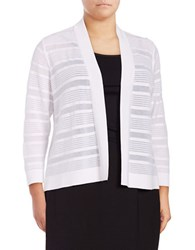 Nipon Boutique Plus Striped Open Front Cardigan White