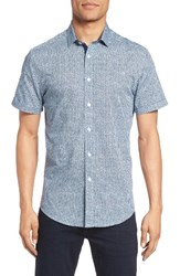 Vince Camuto Men's Abstract Print Sport Shirt Blue Abstract Dot Print