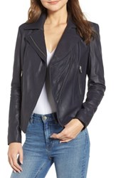 Marc New York Feather Leather Moto Jacket Midnight