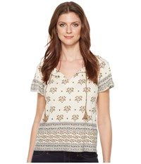 Lucky Brand Border Printed Top Natural Multi Women's Clothing