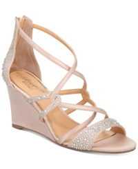 Jewel Badgley Mischka Ally Strappy Evening Wedge Sandals Women's Shoes Champagne