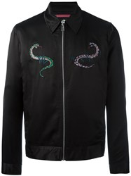 Paul Smith Ps By Patches Bomber Jacket Men Cotton Rayon Wool M Black