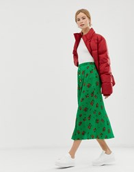 Asos Design Floral Plisse Pleated Midi Skirt With Poppers Green Floral Multi