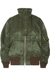 Sacai Ma 1 Satin Hooded Bomber Jacket Army Green