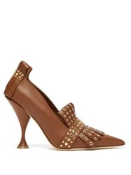 Burberry Goodall Studded Leather Pumps Tan Gold