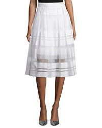 Erin Fetherston Vista Sheer Striped A Line Skirt Ivory Women's