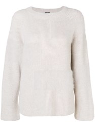 Lorena Antoniazzi Fuzzy Panel Sweater Nude And Neutrals