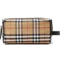 Burberry Leather Trimmed Checked Nylon Wash Bag Tan