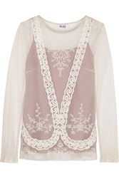 Alice By Temperley Luisa Embroidered Point D'esprit Top