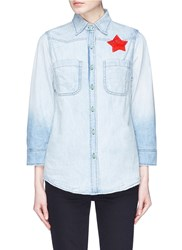 Sandrine Rose 'The Mulholland' Slogan Embroidered Boyfriend Denim Shirt Blue