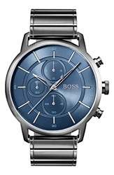 Boss Architectural Chronograph Bracelet Watch 44Mm Steel Blue Gunmetal
