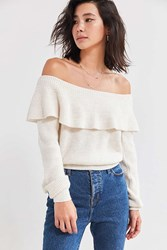 Kimchi And Blue Chrissy Off The Shoulder Ruffle Sweater Ivory