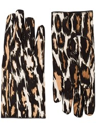 Raf Simons Leopard Print Gloves Brown