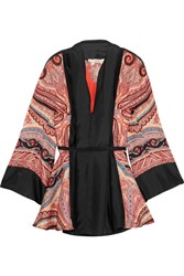 Etro Paisley Print Silk Satin Blouse Orange