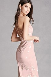 Forever 21 Beaded Floral Tulle Gown Pink