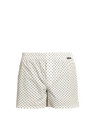 Dolce And Gabbana Polka Dot Print Cotton Poplin Boxer Shorts White Multi