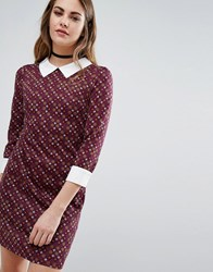 Qed London Tile Print Dress With Collar Wine Red