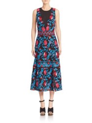 Tanya Taylor A Line Embroidered Midi Dress Black Poppy