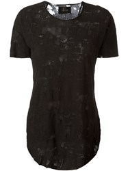 Lost And Found Ria Dunn Distressed Effect T Shirt Women Cotton S Black