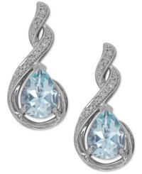 Macy's Aquamarine 1 7 8 Ct. T.W. And Diamond Accent Drop Earrings In Sterling Silver