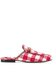 Gucci Checked Mules Red