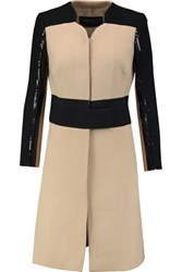 Giambattista Valli Sequin Embellished Wool Crepe Coat Black