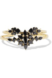 Noir Jewelry Set Of Two Gold Tone Crystal Cuffs One Size
