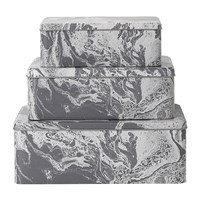 Ferm Living Tin Boxes Set Of 3 Grey Marble