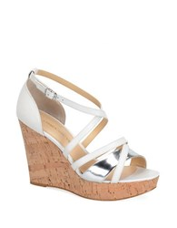 Carmen Marc Valvo Sabina Wedge Sandals White