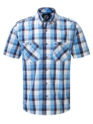 Tog 24 Severn Check Short Sleeve Classic Collar Shirt Blue