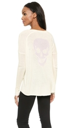 360 Sweater Rebel Skull Cashmere Sweater Ivory With Orchid Skull