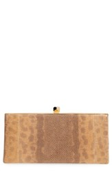 Jimmy Choo 'Celeste' Glitter Genuine Snakeskin Frame Clutch Brown Canyon