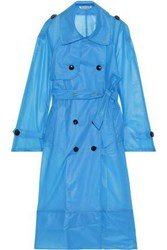 W118 By Walter Baker Woman Leland Double Breasted Pvc Trench Coat Azure