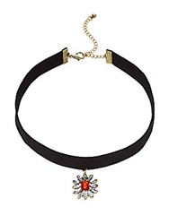 Cara Floral Crystal Pendant Choker Necklace Black