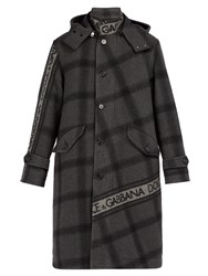 Dolce And Gabbana Logo Print Checked Wool Blend Coat Grey