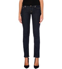 7 For All Mankind Roxanne Skinny Mid Rise Jeans Long Beach Dark