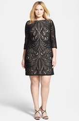 Julia Jordan Lace Illusion Sheath Dress Plus Size Black Taupe