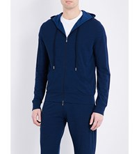 Canali Marl Effect Fleece Wool Tracksuit Top Navy