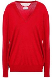 Red Valentino Redvalentino Woman Point D'esprit Trimmed Cashmere And Silk Blend Sweater Crimson