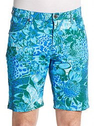 Versace Floral Print Denim Shorts Turchese